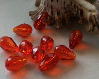 Red faceted teardrop Beads-(15 x 10 mm)- 14 pieces