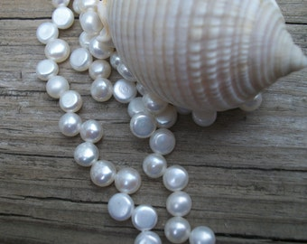 White Freshwater Coin Pearl - ( 6 - 7 mm) -  full strand
