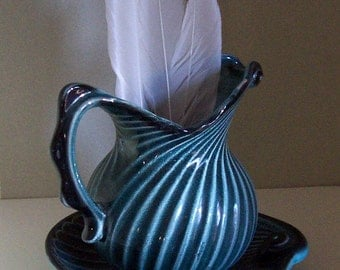 Ocean Blue Sea Shell Pitcher and Plate