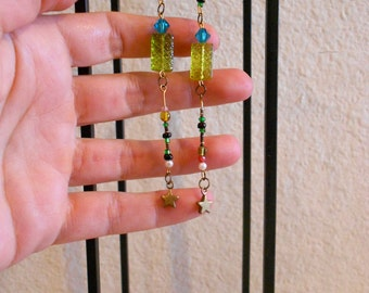 Long Earrings, Beaded, Lime green and Turquoise,Glass Stone and metal Beads