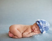 Newsboy Crochet Baby Boy Hat and Newborn Photography Prop Ready Item
