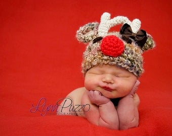 Crochet Baby Girl Hat Santa's Reindeer With  A BOW Photography Prop Sizes Preemie, Newborn, 0-3 months, 3-6 months