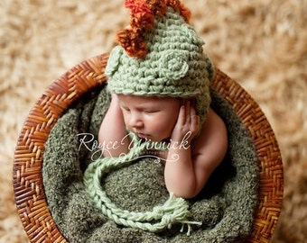 Baby Boy Hat Dinosaur Earflap Crochet Photography Prop Sizes Preemie, Newborn, 0-3 months, 3-6 months