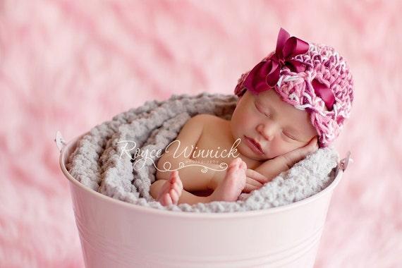 Maroon Ribbon Bow Hat Crochet Baby Photography Prop
