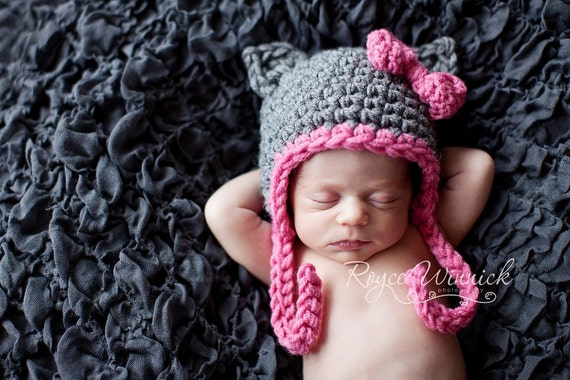 Little Grey Kitty Baby Girl Crochet Hat and Photography Prop