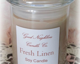 Fresh Linen, Soy Candle, 8 ounce, Lidded Glass Jar, Tan, Fresh and Clean