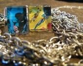 Dark Knight...Custom Stamp Cufflinks under Glass Block/ Modern/ Graphic/Comic Book Hero  Sale for the holidays...was 45 now 35
