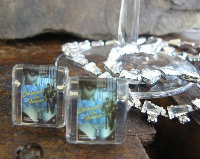 FREE SHIPPING.. Diamonds are Forever...  Shaken...Not Stirred..custom James Bond Vintage stamp cufflinks under glass block