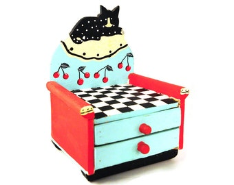 Folk Art, cat, Painted Cabinet, Storage, Jewelry box, Turquoise, Red, Cottage Chic, Chair,