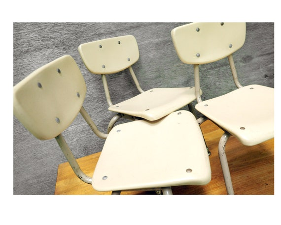 Set of 3 children's school chairs, mid century modern, angled legs, industrial, repurpose, upcylcle as book shelf, plant stand etc