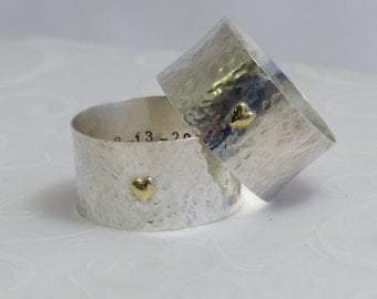 Silver Napkin Ring, Gold Heart, Personalized Silver Napkin Ring, Silver Anniversary, 25th Anniversary, Christmas Napkin Ring
