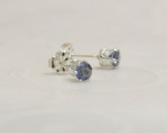 Silver Post Earring Blue Zircon Faceted December Birth Stone