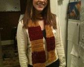 Custom crocheted striped scarf