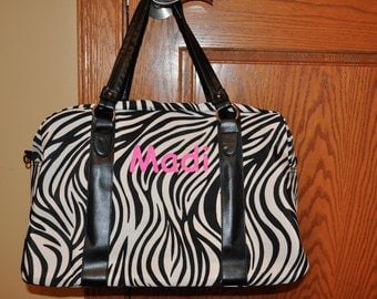 50% OFF Sale FREE Cosmetic Case Zebra Pattern Weekender Travel Overnight Bag - No Embroidery