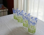 4 Blue and Green Flowered Tumblers RESERVED FOR SARA