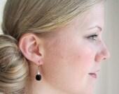 White Swarovski Pearl Earrings, Black Glass Earrings, Swedish Jewelry Design, Made in Sweden