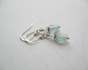 Turquoise Earrings, Aquamarine Earrings, Gemstone Earrings, Swarovski Earrings, Swedish Jewelry, Made in Sweden