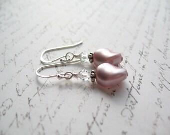 Dusty Pink Earrings, Swarovski Pearl Earrings, Swarovski Earrings, Made In Sweden, Swedish Jewelry, Made in Sweden