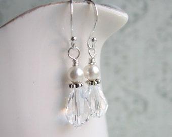 Clear Swarovski Drop Earrings, White Swarovski Pearl Earrings, Swedish Jewelry Design, Made in Sweden, Scandinavian Jewelry
