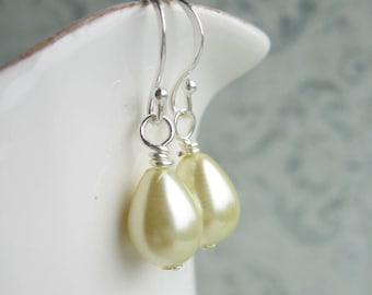 Pastel Yellow Drop Earrings, Pastel Earrings, Bridal Earrings, Swedish Jewelry Design, Made In Sweden, Faux Pearl Earrings