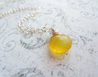 Lemon Yellow Chalcedony Drop Necklace, Swedish Jewelry Design, Made in Sweden