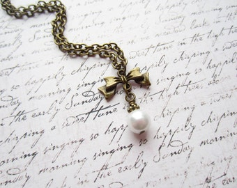 Vintage Bronze Bow Necklace, Pearl Necklace, Made in Sweden, Swedish Jewelry Design,