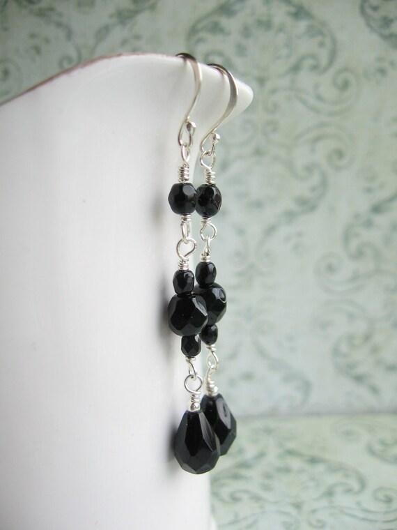 Black Teardrop Earrings, Black Drop Earrings, Black Dangle Earrings, Swedish Jewelry Design by Thyll, Scandinavian Jewelry