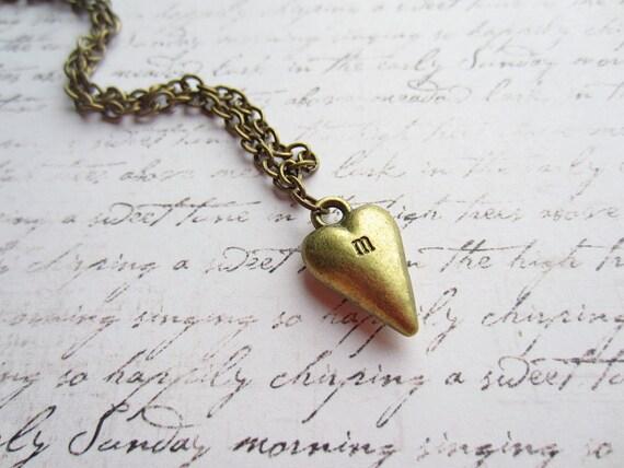 Vintage Bronze Stamped Heart Necklace, Personalized Jewelry, Personalized Necklace, Swedish Jewelry Design, Made in Sweden, Swedish Wedding