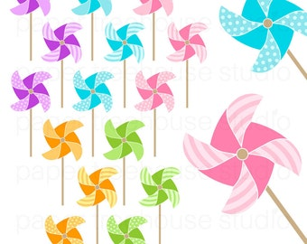 Clip Art Set - Pinwheels -Solid, Striped and Polka Dot Design - 15 Print Ready Files - JPG and PNG Format - ID 126
