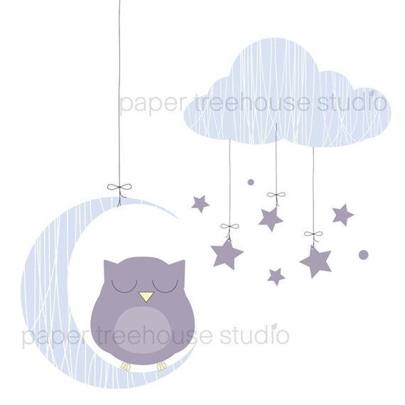 Clip Art Set Owl Moon and Stars Purple Graphics 5 Print