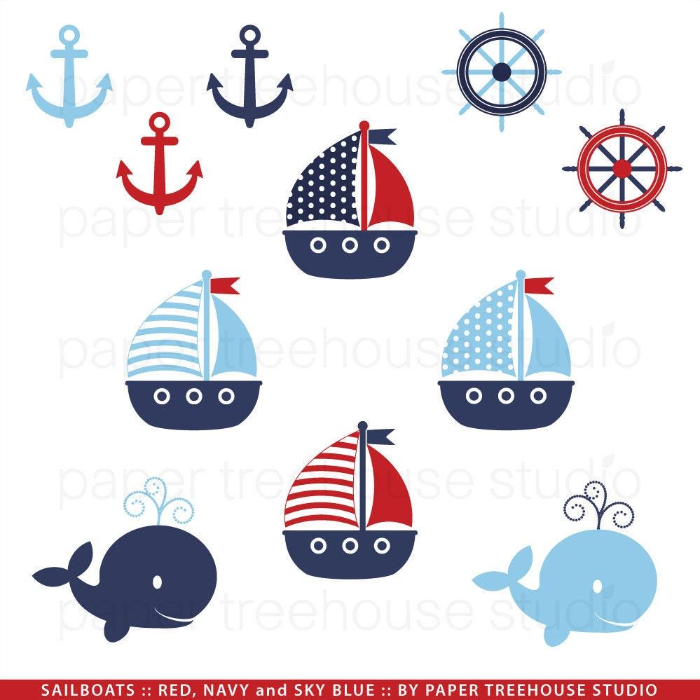 Clip Art Set Sailboats Anchors And Whales Red Blue And