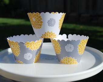 Yellow and Gray Cupcake Wrappers