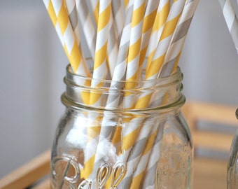 Yellow and Gray Straws 50 | Yellow and Gray Striped Straws | Yellow Grey Party Straws