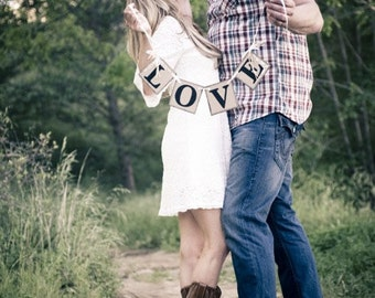 LOVE Shabby Chic Wedding Banner/ Engagement Photo Prop/ Bridal Shower Decoration/ Barn Wedding Decorations/ Love Banner/ wedding garlands