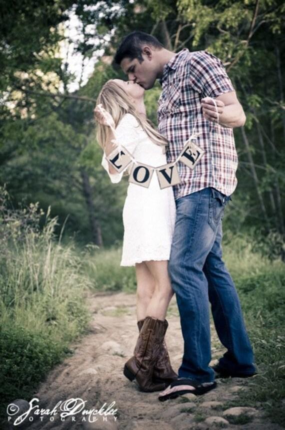 LOVE Shabby Chic Wedding Banner/ Engagement Photo Prop/ Bridal Shower Decoration/ Barn Wedding Decorations/ Love Banner/ wedding garlands