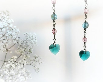 Lithodora - Romantic heart long earrings Teal emerald green soft pink mauve Gift for her Valentine jewelry under 25