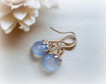 Hedera-Gemstone earrings -chalcedony briolettes, golden ivy leaves caps-16k goldplated brass.something blue.gift for her