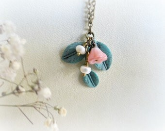 Juniper-Romantic necklace-Teal blue verdigris patina.Peach pink glass Czech glass flowers,freshwater pearls.Gift for her