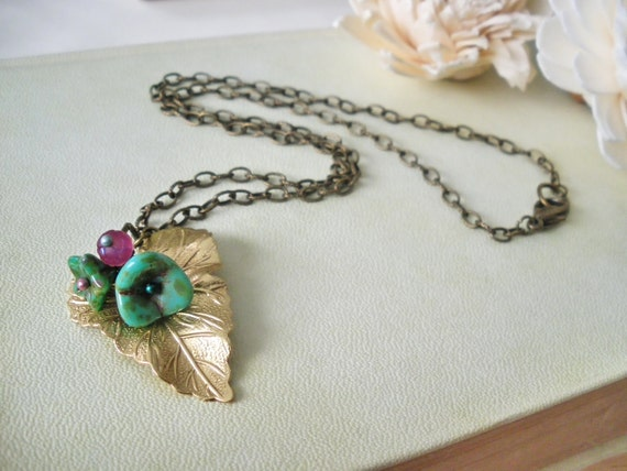 Vitis and tulips - Romantic necklace  Brass golden vine leaf pendant  turquoise flowers pink rosebud woodland jewelry