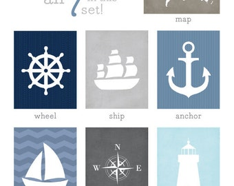 Ship Wheel Art Print / Nautical Set Nursery Art / 8x10 Wall Art Poster / Choose your Colors and Background