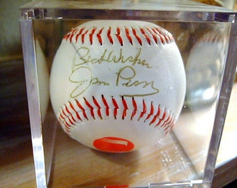 Vintage Jim Perry Autographed Baseball w/ Display Cube, Cy Young Winner, Minnesota Twins, Cleveland Indians, Gift For Him, Christmas