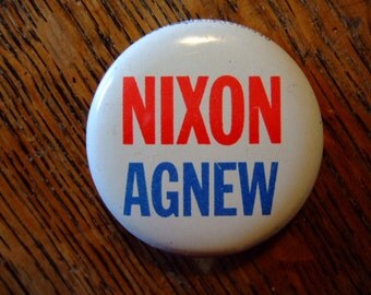 Vintage, Official 1968 NIxon-Agnew Campaign Pin-Back Button, Political Collectibles, Gift for Him, Gift for Her, Christmas