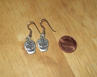 Silver Fiesta Pinup Sugar Skull Earrings
