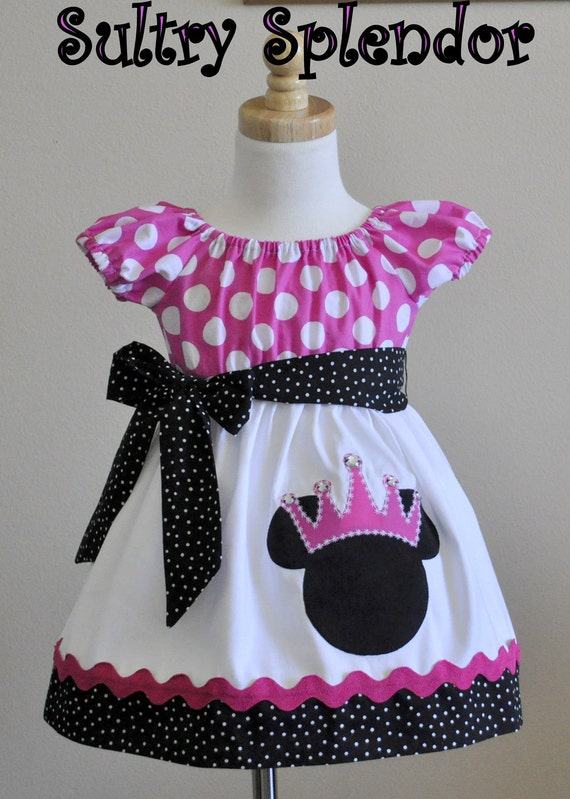 Pink and Black Polka Dots Minnie Mouse Peasant Dress With Applique