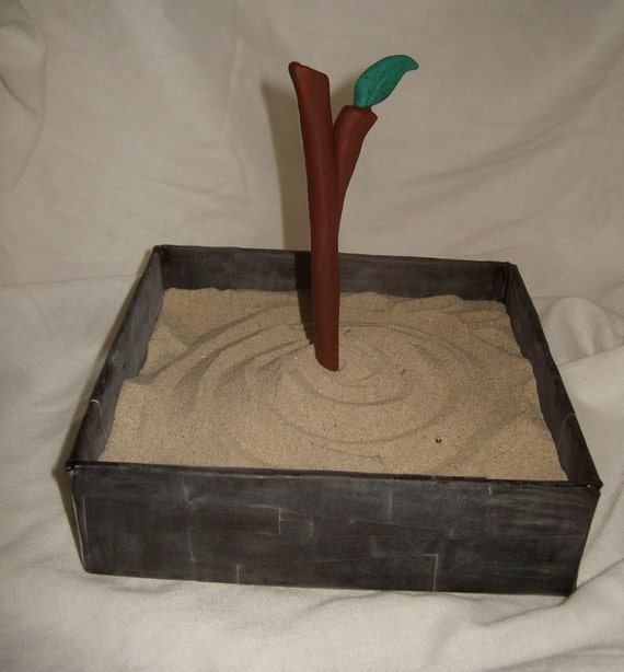 Minature zen garden beach sandbox sand tray handmade box with chalkboard finish twig stylus