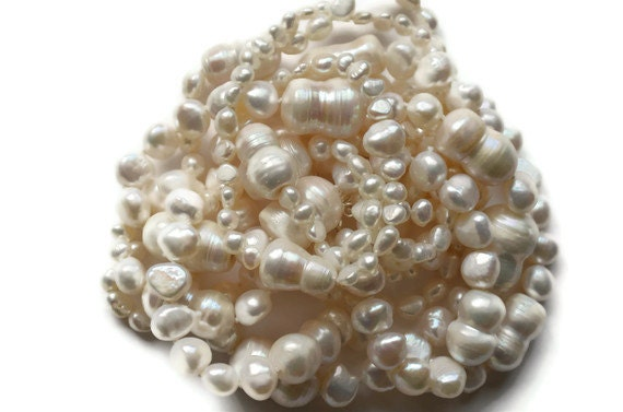 Pearl Necklace, White Ivory, Baroque Freshwater, Multi-Strand