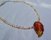Necklace Glass Fall Leaf Pendant on Hand Knitted Fine Silver Wire