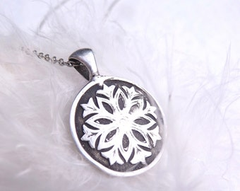 Snowflake winter pendant in fine silver custom made to order
