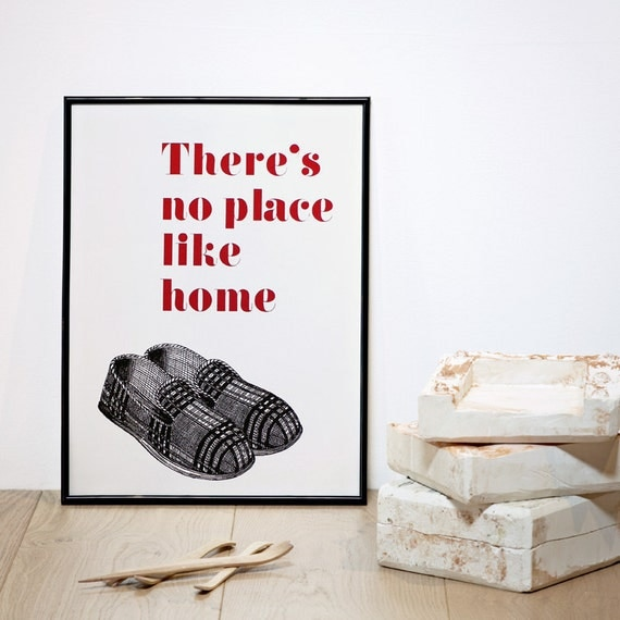 There's no Place Like Home, Father's Day Print, Typography Screenprint, A3 Print, 11.7 x 15.7 in Poster, Quote Wall Art, Movie Quote Poster