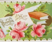 Vintage Victorian Remember Me Book and Roses Embossed Postcard